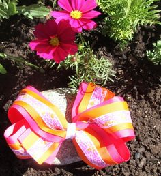 Shocking Pink Orange Cheetah and Heart Hair Bow - $11.99
