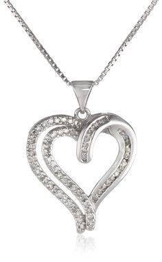 """Sterling Silver Diamond Heart Pendant Necklace (1/3 cttw, I-J Color, I2-I3 Clarity), 18"""""""