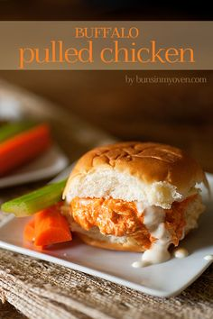 Buffalo Pulled Chicken Sandwiches - easy recipe for game day snacks or lunch! (These were amazing. Made on slightly toasted King's Hawaiian buns, drizzled blue cheese on top. Shredded Chicken Sandwiches, Buffalo Chicken Sandwiches, Chicken Sandwich Recipes, Hamburger Recipes, Shrimp Recipes, I Love Food, Good Food, Yummy Food, Delicious Recipes