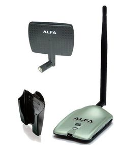 Alfa AWUS036NH 2000mW 2W 802.11g/n High Gain USB Wireless G / N Long-Range WiFi Network Adapter with 5dBi Screw-On Swivel Rubber Antenna and 7dBi Panel Antenna and Suction cup / Clip Window Mount by Alfa. $39.99. You asked for STRONGER WiFi and Extended Range and here it is. This is an ALFA 802.11g wireless USB adapter. Includes a 5dBi Rubber Duck Antenna. The adapter comes with an RP-SMA antenna connector so that you can add an external antenna to boost your w...