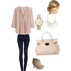 Casual jeans outfit with pink blouse