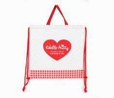 Hello Kitty Quilted Drawstring Bag: Textured Bow
