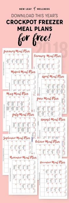 A Year's Worth of Crockpot Freezer Meal Plans...for Free! Includes printable recipes, shopping lists and monthly planning calendar.