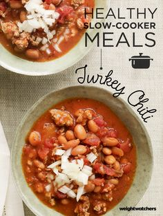 This four ingredient slow-cooker Turkey Chili will become a family favorite! Just throw the ingredients in the cooker, let it simmer for a few hours and ta-da... dinner is served!