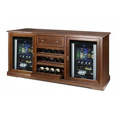 Siena Wine Credenza (Walnut) with Two Wine Refrigerators - Wine Enthusiast