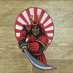 """[ 25% OFF ] Cool Morale Samurai Embroidered Biker Back Patch Iron On Jacket Vest Back Embroidered Patch Large Size Path 10"""""""