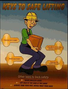 Workplace Safety Poster describing the keys to back safety - straight back, bend knees, keep object close to body, feet apart