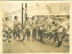 Vintage babes on bikes.