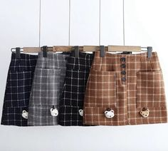 437bd3b9f4 Buttoned up Grid Skirt KF40041 - unzzy Button Up, Grid, Dress Skirt