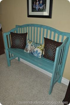 If you want to keep your crib for sentimental reasons, but it takes up too much space why not turn it into a bench?