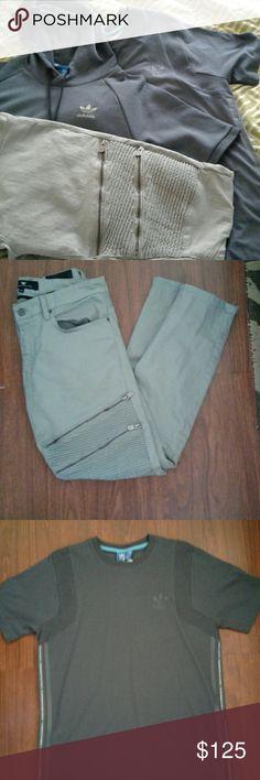 Adidas Bundle Medium Adidas short sleeve hoodie.  Addidas short sleeve shirt Jordan Craig BIKER stretch denim pants Adidas Other