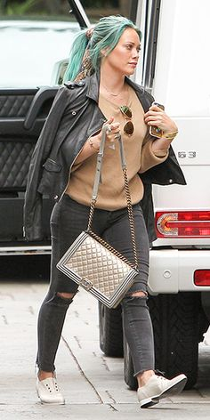 Hilary Duff Out and about in L.A. (March 22, 2015). She is in a jacket from IRO, with a Chanel bag and a Oasis iPhone 6 Case from Zero Gravity. #hilaryduff #style