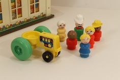 Fisher Price Tractor, Tractor,  Fisher Price Toys, Vintage Fisher Price, Fisher Price Farm Tractor, FIsher Price People by clockworkrummage. Explore more products on http://clockworkrummage.etsy.com