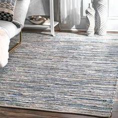 Mack & Milo™ Striped Handmande Braided Cotton Bright Blue/Navy Rug & Reviews   Wayfair Blue Area, White Area Rug, Beige Area Rugs, Farmhouse Layout, Farmhouse Rugs, Modern Farmhouse, Blue And White Rug, Black White, Rustic Cottage