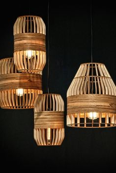 lath lamp big Turn on laser-cut plywood creations.Turn on laser-cut plywood creations. Brass Lamp, Wood Lamps, Pendant Lamp, Pendant Light Fixtures, Pendant Lighting, Interior Lighting, Lighting Design, Lighting Ideas, Lampe Laser