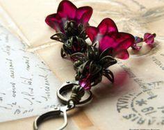 Lucite Earrings, Flower Earrings, 'Cherry Ripe', Victorian Earrings, Boho Earrings, Drop Earrings, Filigree Bronze, Hand Painted