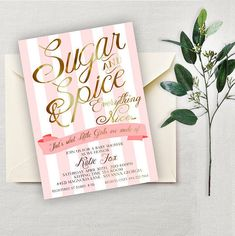 Sugar and Spice Baby Shower Invitation, Baby Girl Baby Shower Invitation, Printable Invitation, Baby Girl Baby Shower, Printing Available