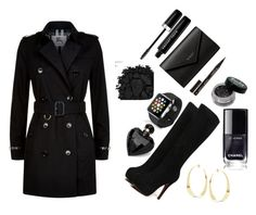"""""""Wearing a Coat on night outs"""" by fashion-life4me ❤ liked on Polyvore featuring Urban Decay, Burberry, Balenciaga, Lana, Apple, Marc Jacobs, Smith & Cult and Lipsy"""