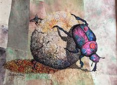 Dung beetle, dung ball and fly textile embroidered art Applique Fabric, Felt Fabric, Fabric Art, Free Motion Embroidery, Embroidery Art, Machine Embroidery, Creative Embroidery, Textile Fiber Art, Textile Artists