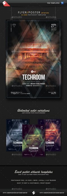 Techroom - Techno Party Flyer / Poster Template A3  #a3 #club #dark • Available here → http://graphicriver.net/item/techroom-techno-party-flyer-poster-template-a3/15526224?s_rank=87&ref=pxcr