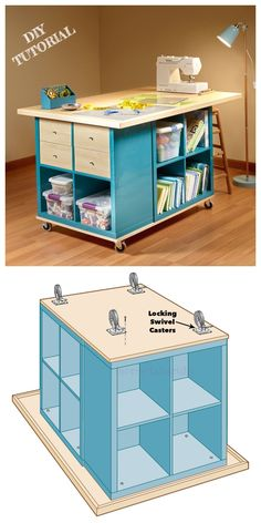 Kallax Cube Basteltisch DIY TutorialIkea Kallax Cube Basteltisch DIY Tutorial DIY Craft Room Table With Ikea Furniture ✔ Diy Table Ikea Hacks Ikea Kallax Hack: Craft Room Storage Craft Tables With Storage, Craft Room Tables, Craft Room Storage, Craft Organization, Storage Ideas, Craft Desk, Ikea Craft Room, Small Craft Rooms, Table Storage