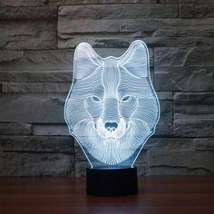 3D Illusion LED Wolf Design Table Lamp. Modern Bedroom Decor 1e516ef03214