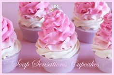 Very effective with two different colours but of similar-ish shade. Cupcake Soap, Pretty Cakes, Pretty In Pink, Bath And Body, Icing, Cupcakes, Homemade, Desserts, Crafts