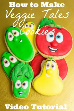 The newest Pastry Shells tutorial is here! Check out how to make these Veggie Tales cookies perfect for a birthday party! Not a bak...