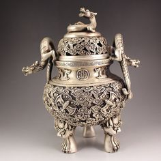Chinese White Copper 3 Legs Incense Burner w Dragon Lid