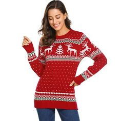 358a955b49 Autumn Christmas Sweaters Deer Print Women Casual Long Sleeve Ouotelab