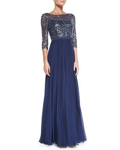 3/4-Sleeve Sequined Lace Bodice Gown by Kay Unger New York at Neiman Marcus. Formal nights on ships.