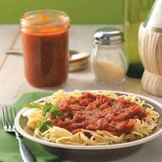 "Homemade Canned Spaghetti Sauce Recipe from Taste of Home -- shared by Tonya Branham, Mt.""recipe makes 9 quarts Homemade Canned Spaghetti Sauce, Homemade Marinara, Homemade Sauce, Homemade Pasta, Canning Recipes, Canning Tips, Sauce Recipes, Pasta Recipes, Pasta Dishes"