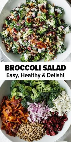 Broccoli Salad This delicious broccoli salad is a combination of broccoli bacon red onion cranberries sunflower seeds and goat cheese. Its an easy low-carb healthy broccoli salad recipe. The post Broccoli Salad appeared first on Rezepte. Best Broccoli Salad Recipe, Healthy Broccoli Salad, Healthy Salad Recipes, Paleo Recipes, Healthy Snacks, Cooking Recipes, Smoker Recipes, Spinach Salad, Recipes Dinner