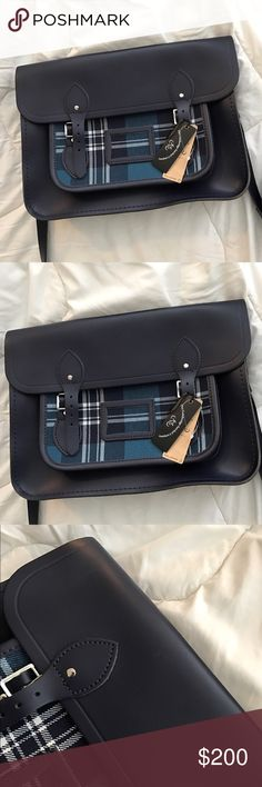 The Cambridge Satchel Company! Tartan print and navy blue! Brand new! Amazing condition the only flaws are the tiny white faded marks in the photos. Beautiful colors. Ask away! The Cambridge Satchel Company Bags Satchels