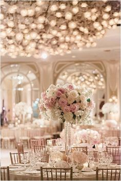 Blush and Ivory Wedding Inspiration   Gold Accents   Gold Chairs   Blush and Ivory Floral Centerpieces   Indoor Reception