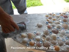 Instructions for Sea Glass Crafts | ... About Crafting: DIY Coastal Design Window Well Covering Craft Project. I am covering a table top with shells and sea glass. I love this.