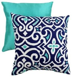Decorative Damask Square Toss Pillow, Blue And White - eclectic - pillows - Target