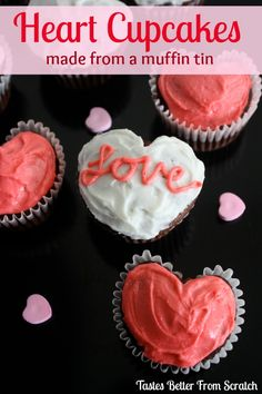 Heart Cupcakes (made from a regular muffin tin)!! on MyRecipeMagic.com