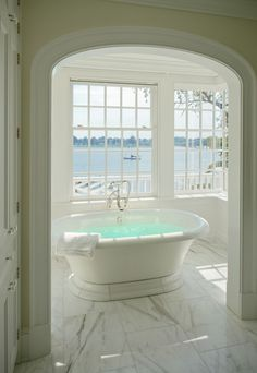 A Breathtaking Bay Window Design With Fascinating Sea View For Classic Luxurious White Bathroom With Antique Bathtub And Carrara Marble Flooring The Bay Window in the Interior that Your Should Know Home decoration Beach Cottage Style, Coastal Cottage, Coastal Living, Dream Bathrooms, Beautiful Bathrooms, Shabby Chic, Bathtub Remodel, Luxury Bath, Beach Cottages