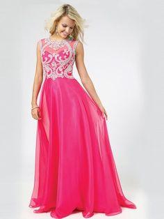 A-Line/Princess Sleeveless Chiffon Scoop Floor-Length Sequins Dresses - Long Prom Dresses - Prom Dresses