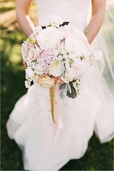 soft white and pink wedding bouquet @weddingchicks
