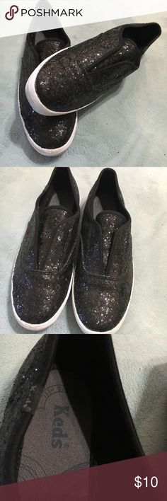 Keds shoes sparkly black Sparkly black slip ons Only worn a couple times Size 9 Keds Shoes Sneakers