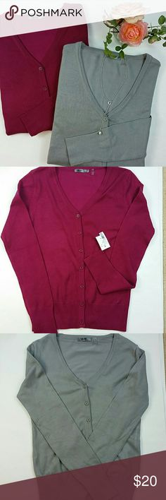 """Bundle of two cardigans for the price of one! Berry cardigan size small NWT Armpit to armpit 15"""" and the Gray cardigan is NWOT  size medium Armpit to armpit 16"""". MAK Sweaters Cardigans"""