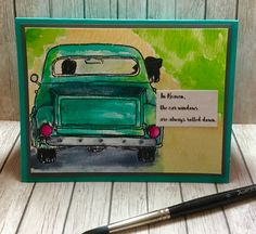 Got my inspiration from a pet sympathy card a friend received when her dog passed away. I used Printworks JB3735 Dad's Truck rubber stamp and added in the heads with black pen before watercoloring with the new Prima Watercolor Confections. Hate to have to use sympathy cards but good to have on hand.