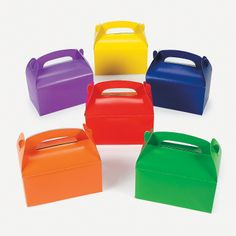 Brightly Colored Treat Boxes - OrientalTrading.com. Maybe decorate these to look like trucks?