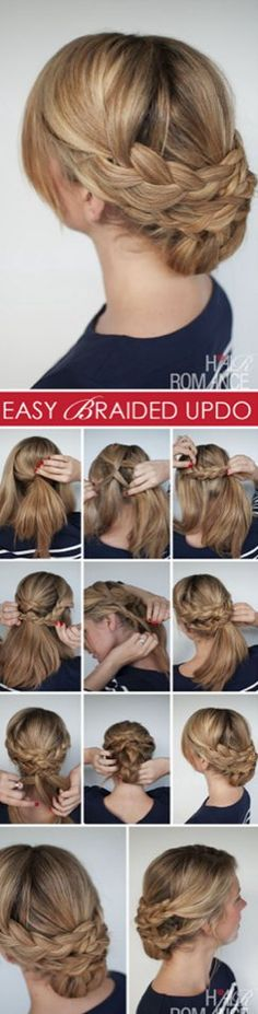 easy braded updo for medium length hair