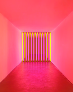 A light installation as pictured in the book Dan Flavin: Corners, Barriers and Corridors, out in December from David Zwirner Books.