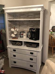 My very first DIY turned an old armoire into a coffee bar! My very first DIY turned an old armoire into a coffee bar! Coffee Bar Design, Coffee Bar Home, Home Coffee Stations, Coffee Bars, Coffee Bar Ideas, Coffee Coffee, Coffee Maker, Armoire Makeover, Furniture Makeover
