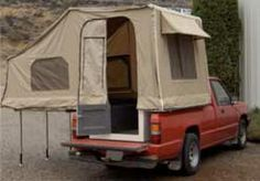 Canvas tent modified to fit on truck bed