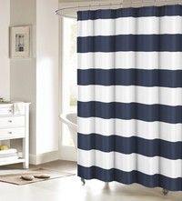 Wish | Fabric Shower Curtain: Nautical Stripe Design (Navy and White)